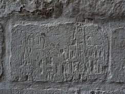 A graffito executed on a wall of St. Mary's Church, Ashwell in Hertfordshire is believed to show Old St. Paul's Cathedral.[46]