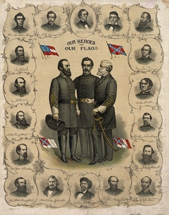 "Three versions of the flag of the Confederate States of America and the Confederate Battle Flag are shown on this printed poster from 1896. The ""Stars and Bars"" can be seen in the upper left. Standing at the center are Stonewall Jackson, P. G. T. Beauregard, and Robert E. Lee, surrounded by bust portraits of Jefferson Davis, Alexander Stephens, and various Confederate army officers, such as James Longstreet and A. P. Hill."