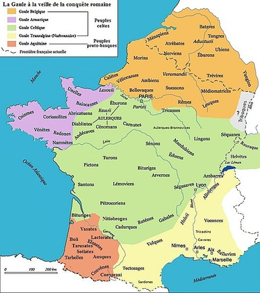 Map 17: According to Strabo, the Belgian tribes (in orange) (the map is in French).