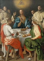 Supper at Emmaus, a 1525 Jacopo Pontormo painting, contains the Eye of Providence in a triangle