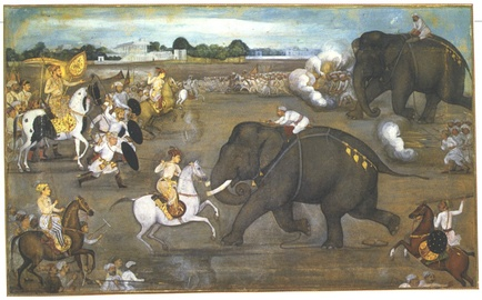 A painting from a Padshahnama manuscript (1633)  depicts the scene of Aurangzeb facing the maddened War elephant  Sudhakar. Sowar's shield is decorated with a star and crescent.