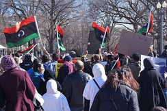 Protesters in Washington calling for a military intervention in Libya in 2011.