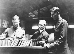 Putnam (center) at A.L.A. Camp Kearny Library
