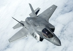 A Lockheed Martin F-35B Lightning II in flight, No. 17 (R) Squadron was the first UK unit to operate the F-35B.