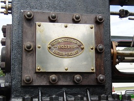 Works plate on a Ruston, Proctor and Co. traction engine