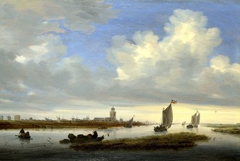 "Salomon van Ruysdael, typical View of Deventer Seen from the North-West (1657); an example of the ""tonal phase""."