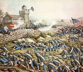 Detail from Charge of the 24th and 25th Colored Infantry and Rescue of Rough Riders at San Juan Hill, July 2, 1898, depicting the Battle of San Juan Hill