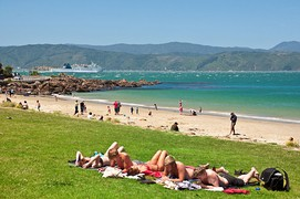 Scorching Bay beach in summer
