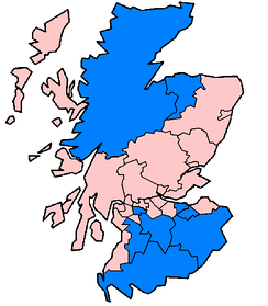 Council areas in Scotland affected in June and July 2007 floods as of 24 July (marked in blue).