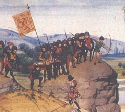 A 14th-century illustration showing an English herald approaching a troop of Scottish soldiers -  an incident of the Anglo-Scottish Wars.