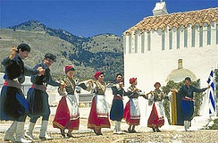 Cretan dancers of traditional folk music