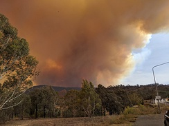 Smoke rising from the Orroral Valley fire, viewed from Tharwa, Australian Capital Territory