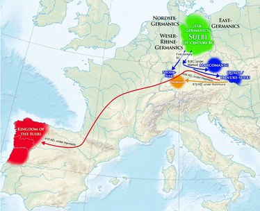 Map 11: Suebic migrations across Europe.