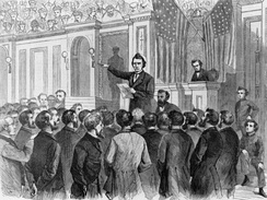 Harper's Weekly woodcut of Stevens making his final argument to the House