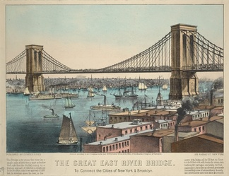 The Great East River Bridge To connect the cities of New York and Brooklyn, Currier & Ives, 1872