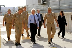 Senator Lieberman visits Navy base in Groton, Connecticut