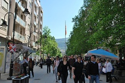 People on Macedonia street, the main pedestrian axis of the city.