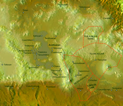 Map showing location of Tlaxcallan kingdom