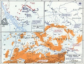 Closeup map of a battlefield, showing French forces moving towards Austrians positions.