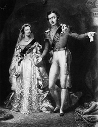 Queen Victoria in her white wedding dress with Prince Albert on their return from the marriage service at St James's Palace, London, 10 February 1840