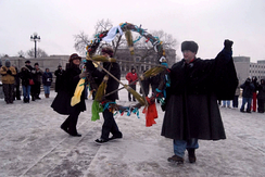 Wiccan event in Minnesota, with practitioners carrying a pentacle, 2006