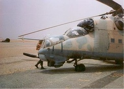 A Libyan Mil Mi-25 captured by Chadian forces at Ouadi Doum