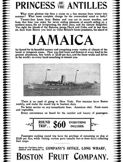 Advertisement for travel by ship between Boston and Jamaica, Boston Fruit Co., 1897