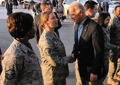 Airmen from the 387th Air Expeditionary Group greet Vice President-elect Joe Biden as he boards an aircraft headed to Iraq 12 January 2008. Vice President-elect Biden is headed into Iraq as part of his trip to the region.