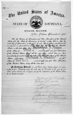 Certificate for the electoral votes for Rutherford B. Hayes and William A. Wheeler for the State of Louisiana (1876)