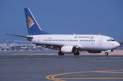 Air Astana Boeing 737-700 taxiing at Dubai International Airport in 2005