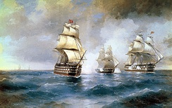 "An Imperial Russian Navy Brig ""Mercury"" Attacked by Two Turkish Ships in a scene from the Russo-Turkish War (1828–29), by Ivan Aivazovsky"