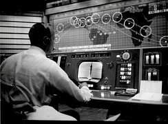 Alan Shepard watches Gus Grissom's Liberty Bell 7 launch in the Mercury Control Center