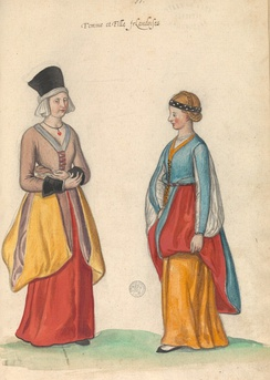 "A 16th century perception of Irish women and girls, illustrated in the manuscript ""Théâtre de tous les peuples et nations de la terre avec leurs habits et ornemens divers, tant anciens que modernes, diligemment depeints au naturel"". Painted by Lucas d'Heere in the 2nd half of the 16th century. Preserved in the Ghent University Library.[63]"