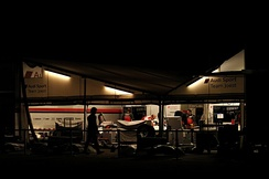 The Joest Racing team at work on their cars before dawn for the 2012 12 Hours of Sebring.