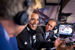 Joe Buck (right) and Tim McCarver (left) (seen with former President Barack Obama, center) call Yankees–Red Sox games on Fox and have called many significant moments in the rivalry.