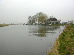 The confluence of the Great Ouse with the Cam, on the left