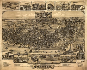 Bird's-eye view of Chester in 1885