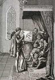 Columbus offers his services to the King of Portugal; Chodowiecki, 17th c.