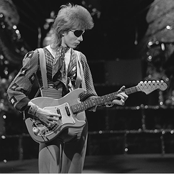 "Bowie filming a video for ""Rebel Rebel"" in 1974"