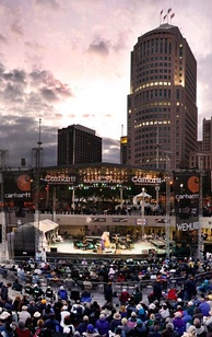 View of stage at Hart Plaza looking north toward downtown during the Detroit Jazz Festival.