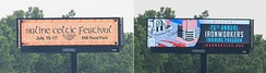 Digital billboard with changing images, Ypsilanti, MI
