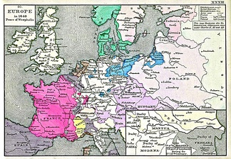 Map showing European borders in 1648