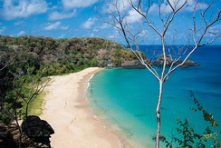 Praia Sancho, beyond this beach a reserve for some 600 spinner dolphins is established in Fernando de Noronha Archipelago, Pernambuco.