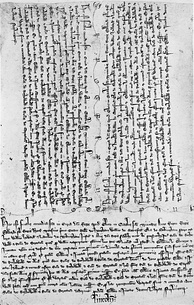 A fine of 1303, including both parties' chirographs and the foot of the fine.