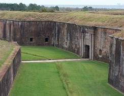 Fort Morgan as it appeared in 2008. The citadel was razed rather than rebuilt, and portions of it are now occupied by the Endicott Batteries.