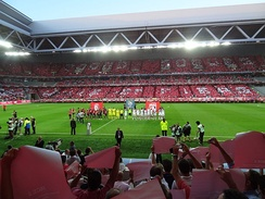 Lille lining up at the Stade Pierre-Mauroy before its first match in 2012