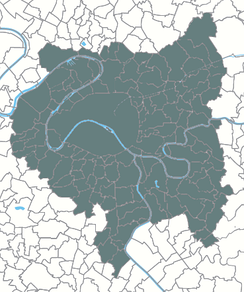 A map of the Greater Paris Metropolis (Métropole du Grand Paris) and its 131 communes