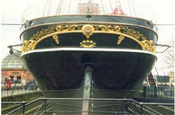 Ship's stern before renovation in 1994. The original dock arrangement can also be seen.