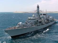 HMS Somerset of the Royal Navy. Type 23 frigates were built for anti-submarine warfare but are capable multi-purpose ships.[22]