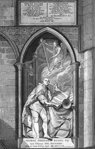 Handel's monument in Westminster Abbey with the plaque recording his commemoration in 1784